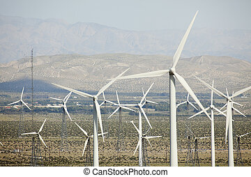 Dramatic Wind Turbine Farm in the Desert of California