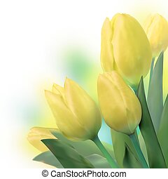 Bouquet of beautiful yellow tulips. EPS 8