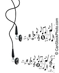 Earphones - Music earphones isolated against a white...