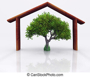 wood house and tree