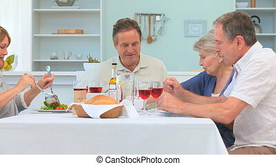 Dinner between elderly friends - A lovely dinner between...