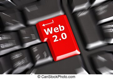 web 2 0 rss or blog concept with internet computer key on...
