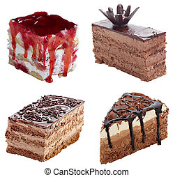 cream chocolate cake sweet food - collection of various...