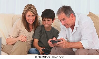 A boy playing video games
