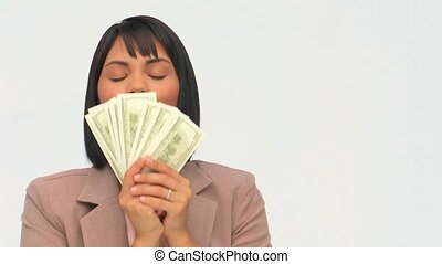 Chinese business woman showing off money