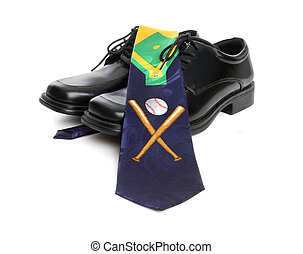 Baseball Tie and Shoes - A business mans shoes and a...