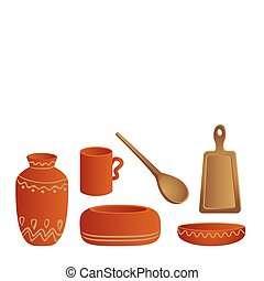 Houseware - Wooden and clay utensils