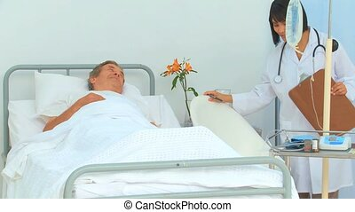 Elderly man receiving a visit of hi