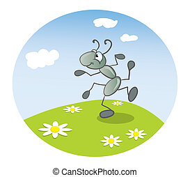 Ant dancing on the lawn