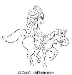American Indian on horseback. Contour