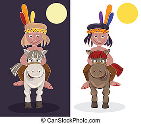 American Indian on horseback. Day and night