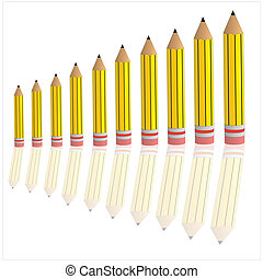 bar graph with yellow pencil