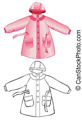 Raincoat - Rain coat with hood isolated on white. Color and...