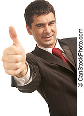 Success in business - Image of happy businessman showing...