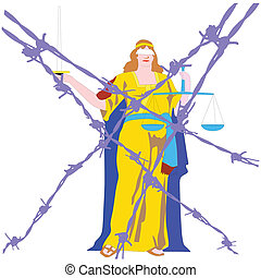 lady justice behind barbed wire - lady justice