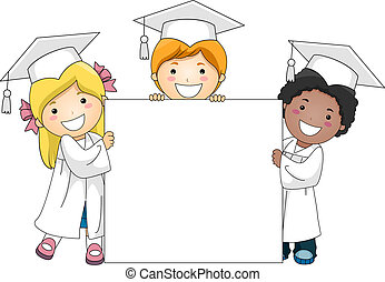 Kids Holding a Banner - Illustration of Kids Holding a...