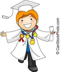 Kid Graduation Awards - Illustration of a Boy Decorated with...