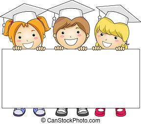 Kids Banner - Illustration of Kids Holding a Banner