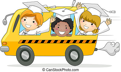 Kids School Bus - Illustration of Kids Driving Away in a...