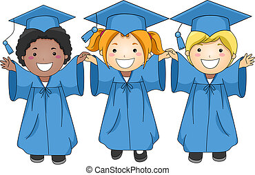 Graduates - Illustration of Graduates Jumping Happily