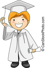 Kid Holding Tassle - Illustration of a Kid Holding the...