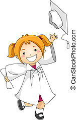 Kid Tossing Cap - Illustration of a Kid Throwing Her...