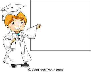Graduation Banner - Illustration of a Kid Presenting a...