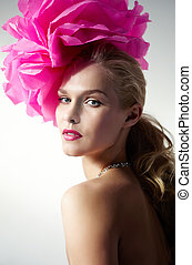 Female with flower - Gorgeous woman with pink flower on head...