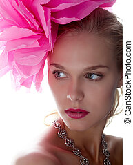 Beautiful woman - Gorgeous woman with pink flower on head...