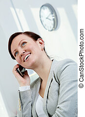 Female employer - Portrait of pretty businesswoman calling...