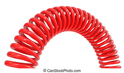 red 3d spring steel spring isolated on a white