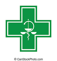 Medical cross - symbol with snake - illustration