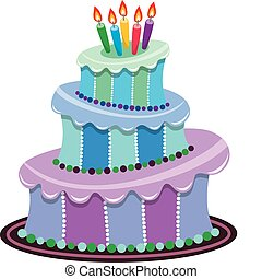 big birthday cake - vector big birthday cake with burning...