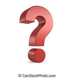 red 3d question mark - Red 3d question mark, isolated on...