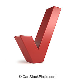 big 3d text - check mark - Red 3d check mark, isolated on...