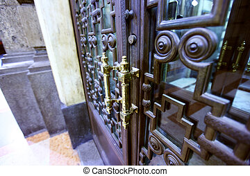 doorhandle on the door close up