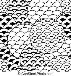 abstract seamless monochrome pattern with stylized waves
