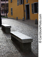 stone brench - stone bench on the street