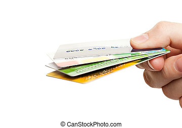 Hand holding credit cards - Human hand holding business...