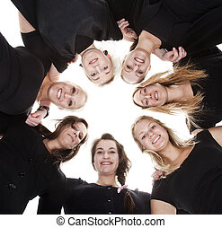 Group of Young Women from low angle view