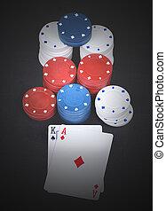 Black Jack - poker cards in black withchips