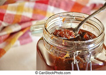 Chutney - Homemade beetroot chutney with apples and oranges,...