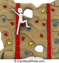 3d man escalating a climbing wall isolated on white