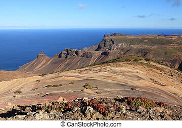 St Helena Island afternoon light - View across the volcanic...
