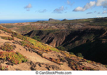 Volcanic terrain of St Helena - Late afternoon view across...