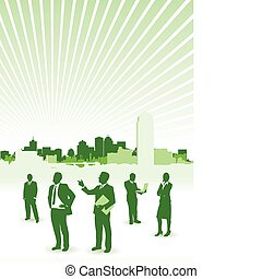 business people on a cityscape background