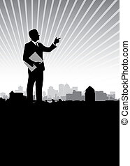 business man background - business man on a cityscape...