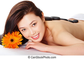 Happy woman - Portrait of young female ready for massage...