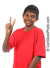 Peace signal from teenager boy - Teenager boy showing peace...