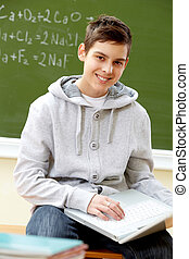Teenager with laptop - Portrait of smart lad with laptop...
